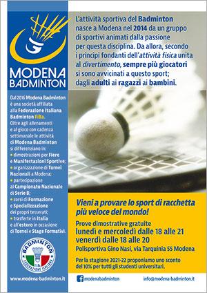 Volantino Modena Badminton 2021